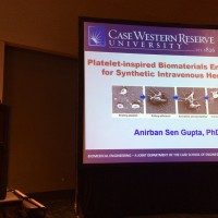 Dr. Sen Gupta talking about the synthetic platelet technology at SFB Annual Conference 2015